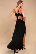 Sultry Something Black Backless Maxi Dress 2