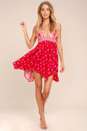 Wildwood Red Print Lace-Up Dress 2