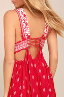 Wildwood Red Print Lace-Up Dress 4