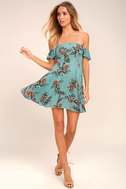 One Sweet Day Light Blue Floral Print Off-the-Shoulder Dress 2