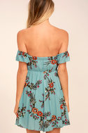 One Sweet Day Light Blue Floral Print Off-the-Shoulder Dress 3