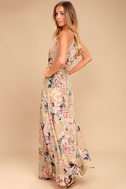 Something Just Like This Beige Floral Print Maxi Dress 1