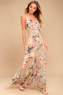 Something Just Like This Beige Floral Print Maxi Dress 2