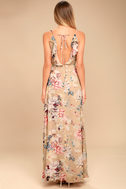 Something Just Like This Beige Floral Print Maxi Dress 3