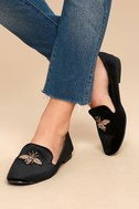 Beatrice Black Velvet Embroidered Loafers 4
