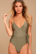 Somedays Lovin' Sunspell Olive Green One Piece Swimsuit 1