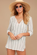 Billabong Same Story Ivory Striped Lace-Up Cover-Up 1