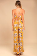 Going to the Garden Yellow Floral Print Jumpsuit 3