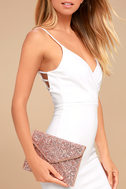 Rock Candy Rose Gold Sequin Clutch 3