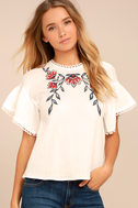 Moon River Del Mar White Embroidered Top 1