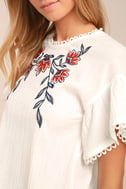 Moon River Del Mar White Embroidered Top 4