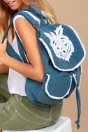 Next Adventure Denim Blue Embroidered Backpack 1