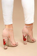 Adela Nude Suede Embroidered Ankle Strap Heels 4