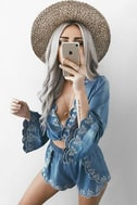 Lost + Wander Solstice Blue Embroidered Chambray Crop Top 5