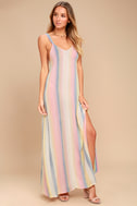 Billabong Sky High Light Pink Striped Maxi Dress 1