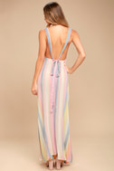 Billabong Sky High Light Pink Striped Maxi Dress 3