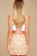 Sunset Celebration Beige Sequin Mini Skirt 4
