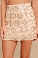 Sunset Celebration Beige Sequin Mini Skirt 3