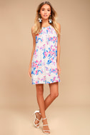 Lucy Love Late Night Dinner Light Grey Floral Print Dress 1