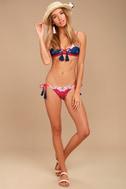 MINKPINK Setting Sun Magenta Print String Bikini Bottom 1