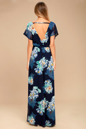 On the Pond Navy Blue Floral Print Maxi Dress 3