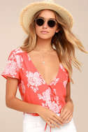 Flying High Coral Red Floral Print Crop Top 1