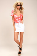 Flying High Coral Red Floral Print Crop Top 2