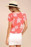 Flying High Coral Red Floral Print Crop Top 3