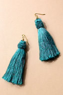 Temptress Teal Blue Tassel Earrings 1