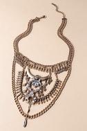 Boho Bounty Gold Rhinestone Layered Statement Necklace 1
