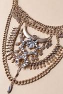 Boho Bounty Gold Rhinestone Layered Statement Necklace 2