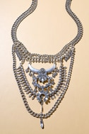 Boho Bounty Silver Rhinestone Layered Statement Necklace 1