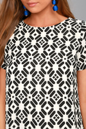 Piazza Black and White Print Shift Dress 4