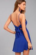 Yours Forever Royal Blue Backless Skater Dress 2
