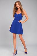 Yours Forever Royal Blue Backless Skater Dress 1