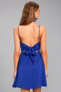 Yours Forever Royal Blue Backless Skater Dress 3