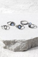 Simply Charmed Light Blue and Silver Ring Set 1