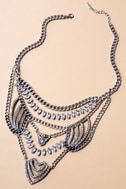 Putting on the Ritz Silver Rhinestone Statement Necklace 1
