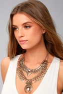 Entranced by You White and Gold Layered Statement Necklace 3