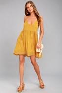 Rhiannon Mustard Yellow Lace Baby Doll Dress 1