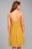Rhiannon Mustard Yellow Lace Baby Doll Dress 3
