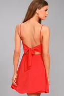 Yours Forever Red Backless Skater Dress 2
