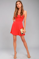 Yours Forever Red Backless Skater Dress 1