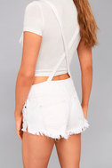Free People Strappy White Distressed Denim Overalls 4