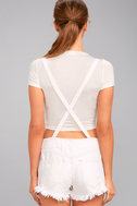 Free People Strappy White Distressed Denim Overalls 3
