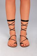 Veronica Black Lace-Up Flat Sandals 1