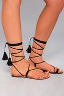 Veronica Black Lace-Up Flat Sandals 2