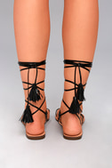 Veronica Black Lace-Up Flat Sandals 3