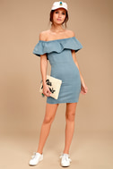 Time of Your Life Light Blue Denim Off-the-Shoulder Dress 2