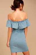 Time of Your Life Light Blue Denim Off-the-Shoulder Dress 3